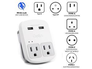 Safest Travel Adapter Kit, Dual USB for iPhone, Chargers, Cell Phones, Laptop Perfect for Travelers by Ceptics