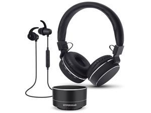 HyperGear Wireless Bluetooth 3 Piece Audio Gift Set. Take & Make Calls Directly From The On-Ear Headphones, Sport Stereo Earbuds or Portable Speaker. For iPhone X/8/8Plus, Samsung S9/S9+, Note8 & More