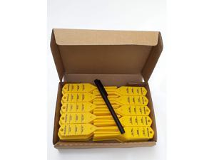 Mechanic Service Auto Key Tags - Yellow self Locking Car Key Tags Made of Waterproof Plastic | Box of 300 Auto Tags | NO Folding, NO Key Rings, NO Laminated Key Tags Necessary | Pen Included