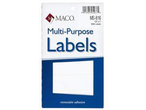 MACO White Rectangular Multi-Purpose Labels, 1/2 x 1 Inches, 1000 Per Box (MS-816)