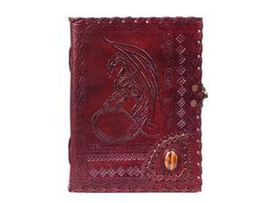 """Handmade Large 8"""" Embossed Leather Journal Celtic two latches blue stone blank personal Diary notebook refillable journal gift (dragon with stone)"""