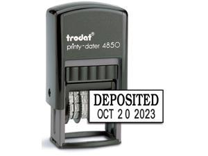 "Trodat 4850 Date Stamp with""DEPOSITED"", Self Inking Stamp - Black Ink"