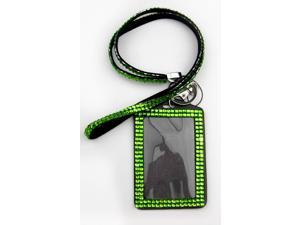 ALL in ONE Rhinestone Lanyard Bling Crystal Necklace + Card Holder for Id/key/cell Phone (GREEN)