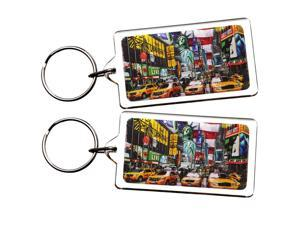 2X Highly Collectible New York NY NYC Manhattan Landmarks Photo Keychain Key Ring Gift Souvenir (B05)