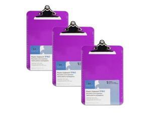 S.P. Richards Company Transparent Plastic Clipboard, 9 x 12-1/2 Inches, Violet (SPR01862) (3 Pack)