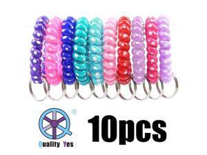 QY 10pcs White Dot Colorful Plastic Spiral Coil Wrist Band Key Ring Chain