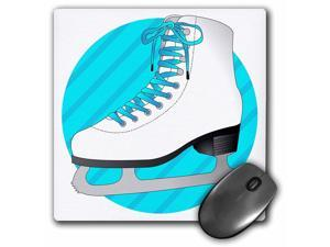 3dRose Figure Skating Gifts - Blue Ice Skate on Stripes - Mouse Pad, 8 by 8 inches (mp_77472_1)