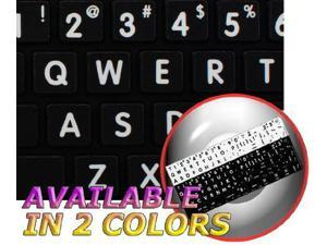 UPPER AND LOWER LETTERS MAC ENGLISH DESKTOP AND NOTEBOOK NON-TRANSPARENT KEYBOARD STICKERS ON BLACK BACKGROUND FOR LAPTOP