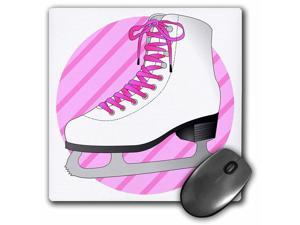 3Drose 8 X 8 X 0.25 Inches Mouse Pad Figure Skating Gifts, Pink Ice Skate on Stripes (mp_77474_1)