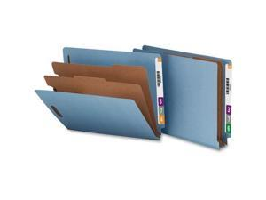 """SP17371 Nature Saver End Tab Classification Folder - Letter - 8.50"""" Width x 11"""" Length Sheet Size - End Tab Location - 2 Dividers - 25 pt. - Blue - 10 / Box"""