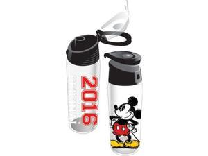 Disney 2016 Classic Mickey Mouse Flip Top Bottle, Clear with Black Top