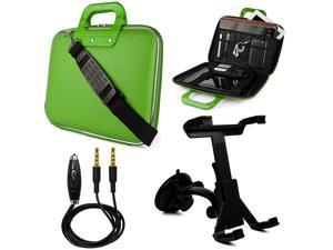 SumacLife Cady 9 to 10.1-inch Tablet Messenger Bag for Kocaso Tablets with Windshield Mount & 3.5mm Auxiliary Cable (Green)