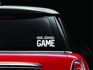 Eat Sleep Game Decal Vinyl Sticker|Cars Trucks Vans Walls Laptop| White |5.5 x 3 in|CCI1012