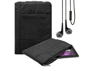 Pillow Zippered Sheen Quilted Sleeve [BLK] For Kocaso W Series 10.1/M Series 9-inch/Le Pan M 9.7/TC Series 10.1-inch + Earbuds