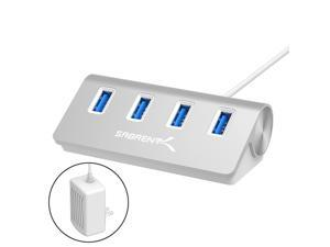 """Sabrent Premium 4 Port Aluminum USB 3.0 Hub (30"""" Cable) for iMac, MacBook, MacBook Pro, MacBook Air, Mac Mini, or Any PC [Silver] 5V/4A Power Adapter Included Included (HB-MAC3-PS-5V4W)"""
