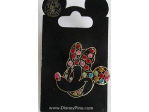 Disney Minnie Mouse #27 Rainbow Colored Jewel Face Pin