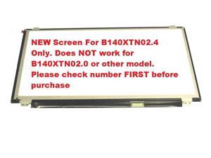 "AUO B140XTN02.4 New Replacement 14.0"" LED LCD Screen WXGA HD Laptop Glossy Display 30 pin eDP Ultra Slim"