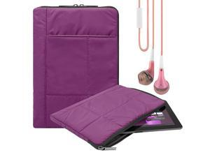Pillow Zippered Sheen Quilted Sleeve [PURP] For Lenovo Tab 2/Yoga 10.1/IdeaPad Miix 300 8 inch + Earbuds
