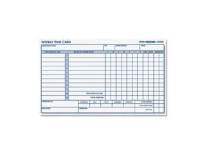"4K409 Rediform Weekly Time Card - 1 Part - 4.25"" x 7"" Sheet Size - Manila - 100 / Pad"