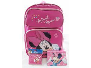 """16"""" Minnie Mouse Pink Backpack Back to School Backpack with Autograph Book + Small Pink Wallet"""