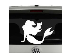 CCI Mermaid Silhouette Decal Vinyl Sticker|Cars Trucks Vans Walls Laptop| White |5.5 x 4 in|CCI1169
