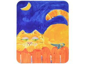Large multicolor Carolines Treasures 6020BT Pair of 2 Orange Tabby Cat on the fence Luggage Tags