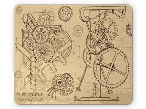 Ambesonne Steampunk Mouse Pad, Retro Hand-Drawn Infographic of Mechanisms and Machines Inspired Print, Standard Size Rectangle Non-Slip Rubber Mousepad, Beige and Dark Brown
