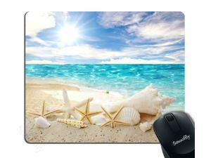 Smooffly Gaming Mouse Pad Custom,Seashells Starfishes Beach Seascape Thick Rubber Mousepad 9.5 X 7.9 Inch (240mmX200mmX3mm)