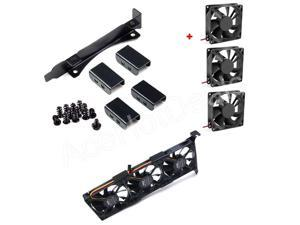 3 Thin Fans Mount Rack PCI Slot Bracket for Video Card + 3x80MM thickness fans