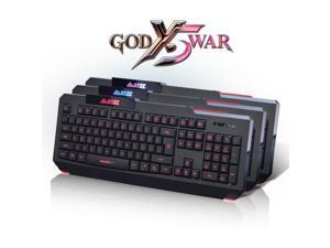 NEW Ajazz God X5 War Backlit Ergonomic Usb Gaming Keyboard Blue/Purple/Red LEDs