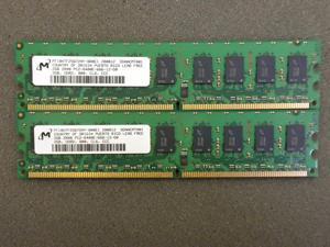 4 GB 2X2GB PC2-6400E ECC Un-Buffered Micron Memory Comp to Dell SNPWM553CK2/4G