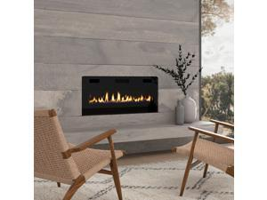 """OKADA 42"""" Electric Fireplace Recessed 3.86"""" Ultra Thin Insert, Wall Mounted and In Wall Easy Installation with Remote Control, 750W/1500W, Low Noise (Fake Fire)"""