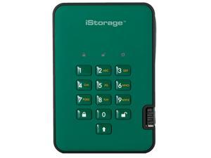 iStorage diskAshur2 HDD 1TB Green - Secure portable hard drive - Password protected, dust and water resistant, portable, military grade hardware encryption USB 3.1 IS-DA2-256-1000-GN