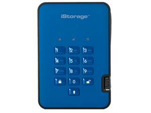 iStorage diskAshur2 HDD 500GB Blue -  Secure portable hard drive - Password protected, dust and water resistant, portable, military grade hardware encryption USB 3.1 IS-DA2-256-500-BE