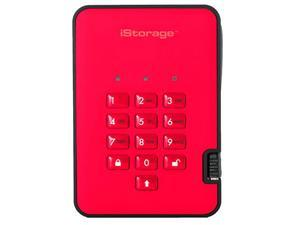 iStorage diskAshur2 HDD 2TB Red -  Secure portable hard drive - Password protected, dust and water resistant, portable, military grade hardware encryption USB 3.1 IS-DA2-256-4000-R