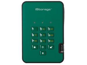 iStorage diskAshur2 SSD 1TB Green - Secure portable solid state drive - Password protected, dust and water resistant, portable, military grade hardware encryption USB 3.2 IS-DA2-256-SSD-1000-GN
