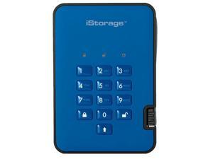 iStorage diskAshur2 SSD 1TB Blue - Secure portable solid state drive - Password protected, dust and water resistant, portable, military grade hardware encryption USB 3.2 IS-DA2-256-SSD-1000-BE