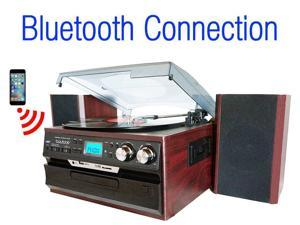 7-in-1 Boytone BT-24DJM Turntable with Bluetooth Connection, 3 Speed 33, 45, 78 Rpm, CD, Cassette Player AM, FM USB, SD