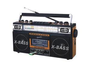SUPERSONIC(R) SC-3201BT-WD Retro 4-Band Radio and Cassette Player with Bluetooth (Wood)