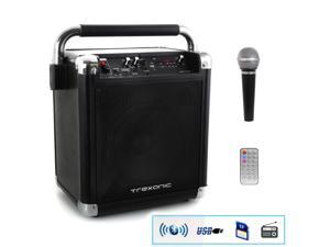 Trexonic Wireless Portable Party Speaker with USB Recording, FM Radio and amp; Microphone, Black