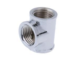 Silver T-Shape 3 Way G1/4 Water Pipe Connector Part for PC Water Cooling System Chrome Plated Brass