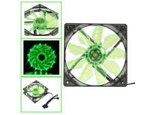 2018 Green 15 LED Light Quite 120mm DC 12V 4Pin for PC Laptop Computer Case Cooling Cool Fan Mod accessories Top Sale