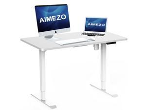 """AIMEZO Electric Standing Desk Height Adjustable Desk Sit Stand Desk Home Office Stand Up Desk with TableTop (White Frame + 47.24"""" x 27.56""""  White Tabletop)"""