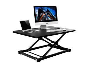 AIMEZO Standing Desk Converter Height Adjustable Sit to Stand Desktop Desk Gas Spring Riser, Perfect Workstation for Laptop & Computer Monitors