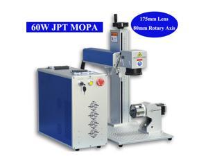 60W JPT MOPA Fiber Laser Marking Machine Laser Engraving Color Marking With 175*175mm Working Area & 80mm Rotary Axis