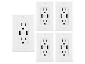 [5 Pack] BESTTEN 15A/125V USB Wall Receptacle Outlet, 2 USB Charging Ports 3.4A and 2 Electrical AC Outlets, Decorator Wall Plates Included, UL Listed, White