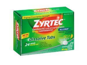 Zyrtec 24 Hour Allergy Dissolve Tablets, 10 Mg, Citrus, 24 Count