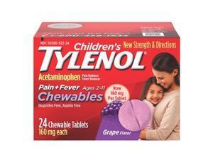 Tylenol Children's Pain Relief, Chewables Tablets, Grape, 24 ea