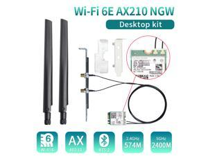 Wi-Fi 6E AX210 (Gig+) Desktop Kit Up to 2.4Gbps Wireless Data Rates with Intel AX210NGW 2.4G/5G 802.11ax Bluetooth 5.2 Wifi Card