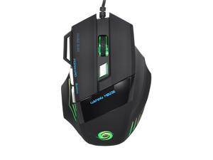 JWFY USB Wired LED Optical Gaming Mouse 5500DPI with Seven Buttons for Pro Gamer